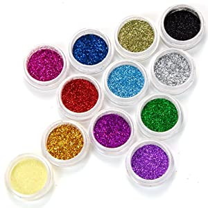 Fraulein38 Lot de 12 couleur poussiere paillette glitter deco gel tip acrylique