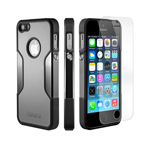 iPhone SE Case, for iPhone 5s 5 SE (Gray) SaharaCase Protective Kit with [ZeroDamage Tempered Glass Screen Protector] Slim Fit Rugged [Shockproof Bumper] Hard Plastic Back (Black) (Iphone5 Back Repair Kit compare prices)