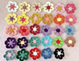 "29pc Assorted Six Petals 2.17"" Crochet Flower Applique Sewing Embellishments"