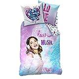 Violetta - Ropa de cama reversible para niños - Linón Cremallera Música 135/200cm