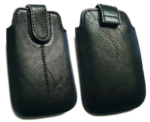 Emartbuy &#174; PU-Leder Schwarz Secured Slide in Pouch / Case / Sleeve / Holder (Gr&#246;&#223;e M) mit Zug-Vorsprung Mechanismus geeignet f&#252;r Nokia N95