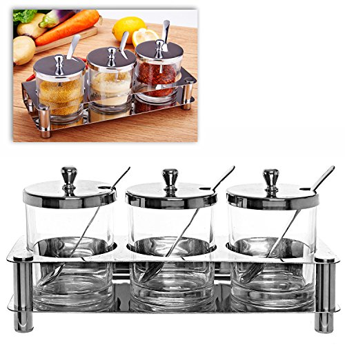 Set of 3 Clear Glass 8 oz Condiment Containers Spice Jars w/ Stainless Steel Storage Rack, Lids, Spoons