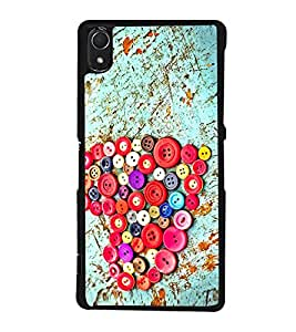 Colourful Buttons Heart 2D Hard Polycarbonate Designer Back Case Cover for Sony Xperia Z2