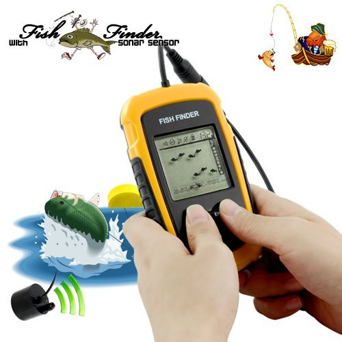 Sourcingbay Portable Fish Finder with Round Sonar Sensor LCD display with LED back-lighting