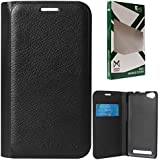 DMG Dotted Finish Premium PU Leather Flip Cover Case For Reliance LYF Flame 1 (Black)