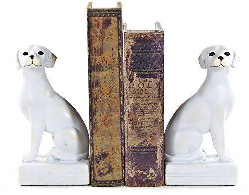 Bellaa Library Polystone Dog Bookend Set, Dog Book Ends for Professional Gifts