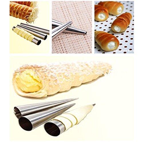 EQLEF® 3 pièces de grande taille non-stick Bakeware conique en acier inoxydable Tube rouleau Outils danois cuisson Moule à gâteau
