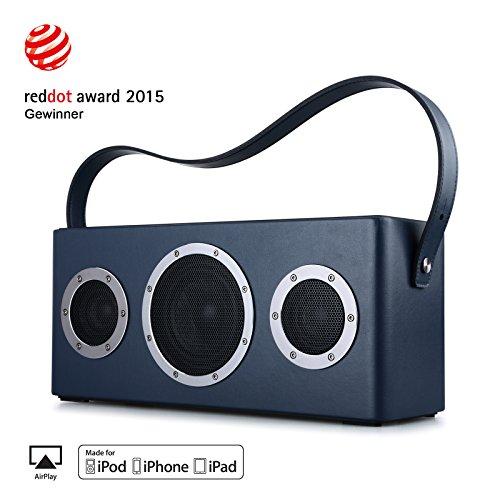 GGMM-M4-Multiroom-Lautsprecher-AirPlay-Lautsprecher-Portable-WIFI-Bluetooth-Lautsprecher-Outdoor-Wireless-Speaker-mit-Lederhandgriff-Blau