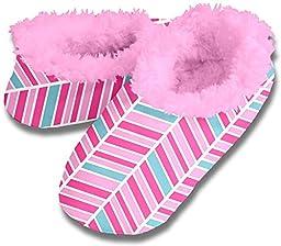 Snoozies Womens Cozy Fleece Lined Slippers - Pink Herringbone, Medium