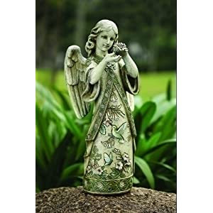 "Garden Angel with Hummingbird - Stone Resin - 19"" High"