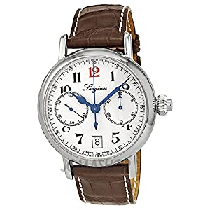 Longines Mono Pusher 180th Anniversary Men's Quartz Watch with White Dial Chronograph Display and Brown Leather Strap L27754233