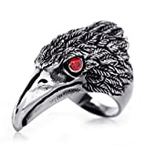 JewelryWe New Stainless Steel Hawk Eagle Ring with Red Cz Eyes, Mens Biker Engagement Wedding Band Black Silver Tone (with Gift Bag)