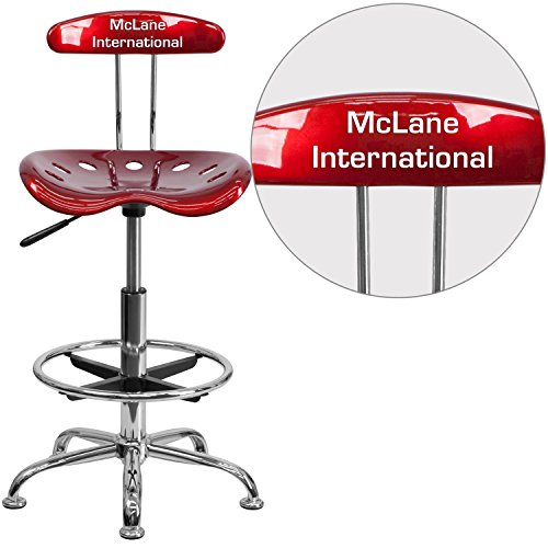 "Personalized Vibrant Wine And Drafting Stool With Tractor Seat Red/Chrome/20""L x 17.25""W x 41""H"
