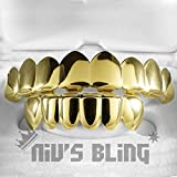 18K Gold Plated GRILLZ 8 Tooth Top & Bottom Mouth Grill (1GTB) 18K GOLD+Box