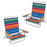 Cadeira de praia traseira elevada de Rio - 5 posi��o LayFlat - jogo de 2 cadeiras