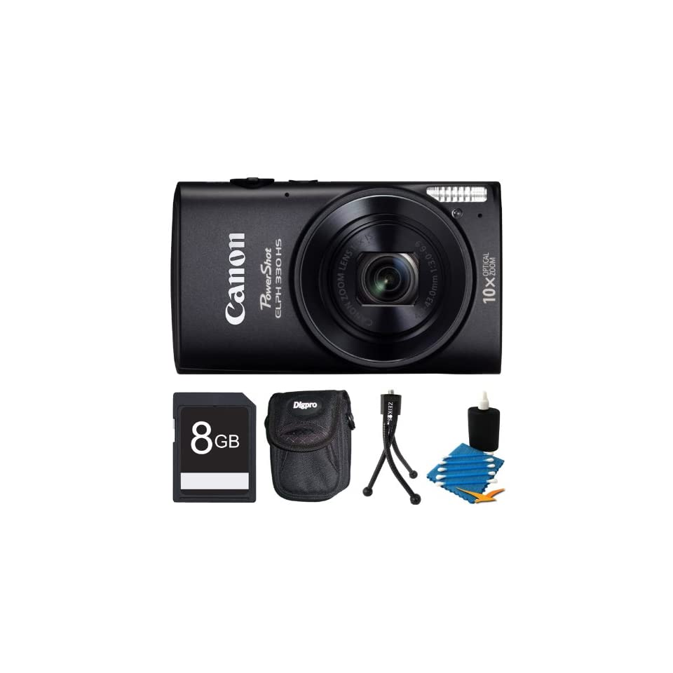 Canon Powershot ELPH 330 HS Black Digital Camera 8GB Bundle   Includes camera, 8GB SD Memory Card, Ultra Compact Digital Camera Deluxe Carrying Case, Flexible Mini Table top Tripod, and 3pc. Lens Cleaning Kit