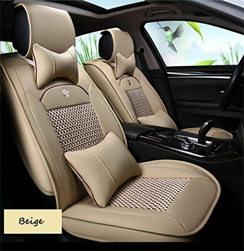 Oroyal Universal Fit Car Seat Cover Set Top Grade PU Leather Luxurious Design With Plaid Ventilating Pattern (Universal Fit For Most Cars, SUV, Trucks or Vans) (Beige-11669113) (Zebra Car Seat Cover Pu Leather compare prices)