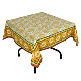 "Handmade Indian 54"" Square Tablecloth - Yellow, Red And Green Floral Cotton"