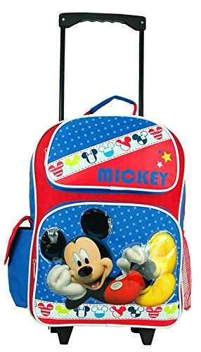 """Disney Mickey Mouse Large 16"""" Rolling Backpack. front-812453"""