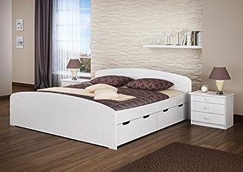Ehebett Doppelbett Bettkasten 180x200 Seniorenbett Massivholz Kieferbettgestell Weiß 60.50-18 W oR