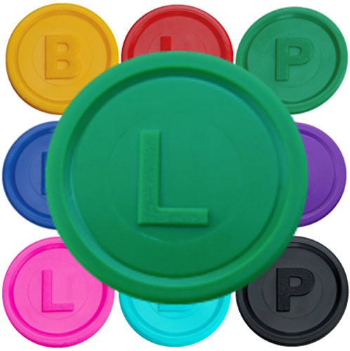 100-deposit-pledge-coins-token-chips-with-letters-b-p-or-l-available-in-14-colours-and-different-qua