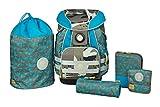 Lässig 5 teiliges Schulranzen-Set inkl. Turnbeutel, Brustbeutel, Federmappe und Städler-Stifte-Set, Schlampermäppchen, Regenschutz, Dino slate