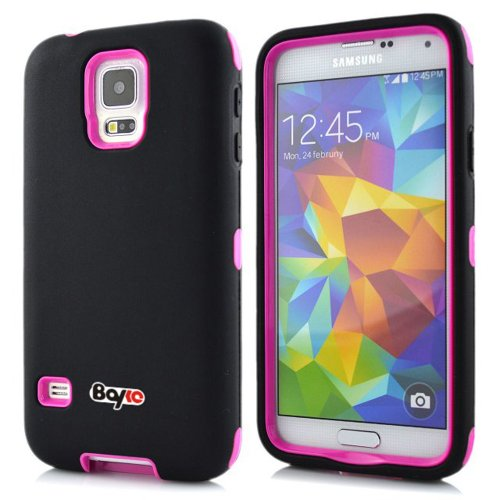 =>  Bayke Brand / Samsung Galaxy S5 SV 3-Piece Premium Armorbox Armor Defender Case High Impact Dual Layer Hybrid Protective Case Without Built-in Screen Protector (Black / Hot Pink)