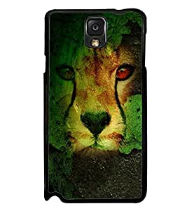 Fuson Premium 2D Back Case Cover Lion on Rocks With Red Background Degined For Samsung Galaxy Note 3 Neo N7505