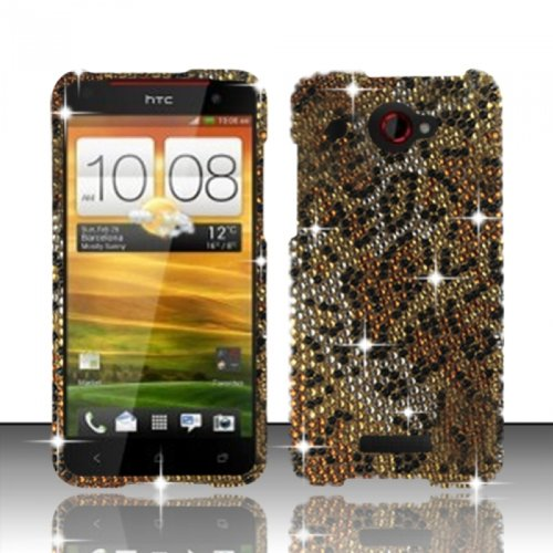 Htc Droid Dna 6435 Case Thrilling Cheetah Hard Flashy Crystal Stones Diamond Cover Protector (Verizon) With Free Car Charger + Gift Box By Tech Accessories front-312048