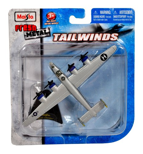 Maisto Fresh Metal Tailwinds 1:210 Scale Die Cast United States Military Aircraft - U.S. Army Air Corps (USAAC) Long Range Heavy Bomber B-24 Liberator with Display Stand (Dimension: 5-3/4