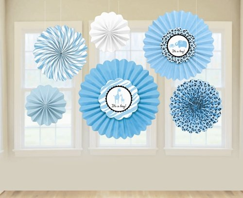 "Amscan Sweet Safari Boy Baby Shower Party Paper Fan Decoration (6 Piece), 13 x 11"", Blue"