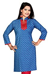 Karan Kurtis Womens Cotton Aline Kurta (Kurtis-0255-Xl_Blue)