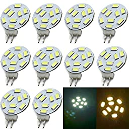 EC™ 10*3W G4 Base 12V LED Light Bulb Replacement,9-LED 5730 SMD LEDs,Disc Type Side Pin Halogen Replacement. Warm White Light for Best Ambience and Conformt (10, Cool White)