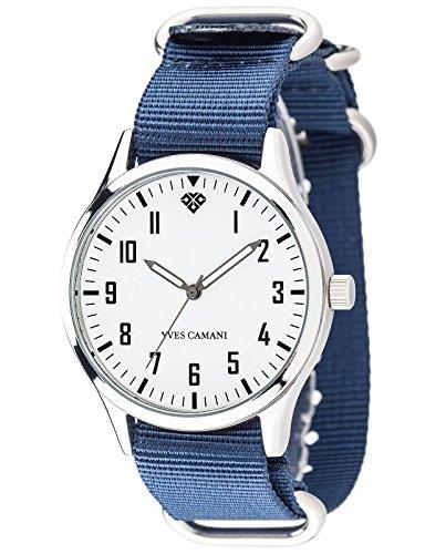 Yves Camani - YC1084-B - Unisson - Montre Mixte - Quartz Analogique - Cadran Blanc - Bracelet Nylon Multicolore