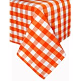 Homescapes - Block Check - Orange - 54 x 54 Inches Tablecloth - Orange White Check - 100% Hand Woven Cotton - Machine Washable at 60 Deg Cby Homescapes
