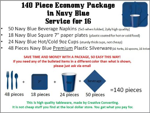 140 Piece Economy Party Supplies Package In Navy Blue Color, Has Cutlery, Plates, Cups, Napkins, Forks, Spoons, And Knives. For Weddings, Anniversary, Baby Shower, Birthday, Any Party. front-536518