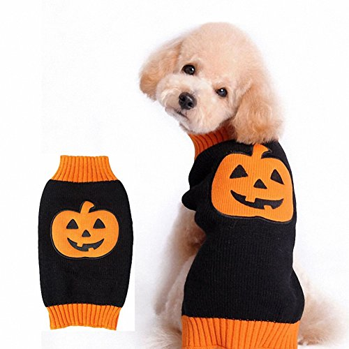 OMEM Halloween Dog Pumpkin Costumes Knitted Sweaters Funny Clothes for Pets (XL) (Pumpkin Outfit For Dogs)