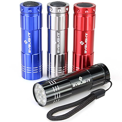 Pack of 4, BYBlight Super Bright 9 LED Mini Aluminum Flashlight with Lanyard, Assorted Colors, Batteries Not Included, Best Tools for Camping, Hiking, Hunting, Backpacking, Fishing and BBQ