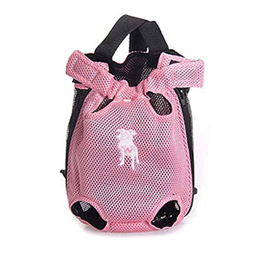 Dogstory Comfortable Mesh Pet Legs Out Front Backpack,pet Carrier for Cat or Dog,2 Color,3 Size to Choose (Pink, S)