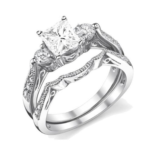 0.58 Carat Princess cut Diamond Antique Wedding Ring Set 10K White Gold