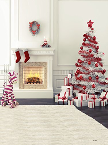 6.5ft(h)x5ft(w) Zebra Fireplace Christmas Tree Photography Backdrops for Children no Crease Photo Studio Background FT0032 (Photography Props For Kids compare prices)