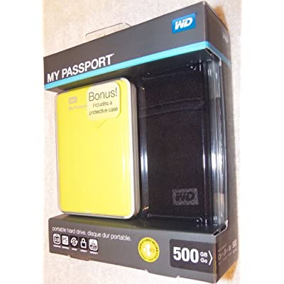WD My Passport 500gb Portable External Hard Drive USB 3.0 Storage Green Yellow