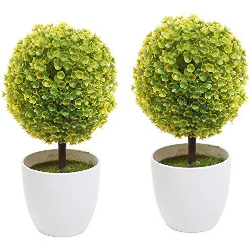 Set of 2 Artificial Faux Potted Tabletop Yellow Flower Plant Topiary w/ White Planter Pots - MyGift® Home