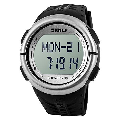 SKMEI 1058SLVR Healtmeter Digital Sports Watch with Peodmeter , Pulse Rate , Calories Count – For Men – Silver Dial
