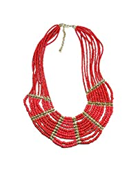Beadworks Statement Beaded Necklace In Red Color