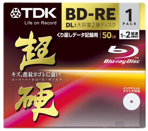 TDK Blu-ray BD-RE DL (Dual Layer) Re-writable Disk 50GB 2x Speed 1 Pack | Blu-ray Disc Rewritable Format (japan import)