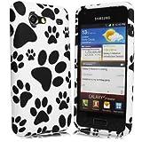 JJOnline Case Cover Skin For Samsung Galaxy S Advance i9070 - Black White Paw Print Series Silicone Rubber Gel