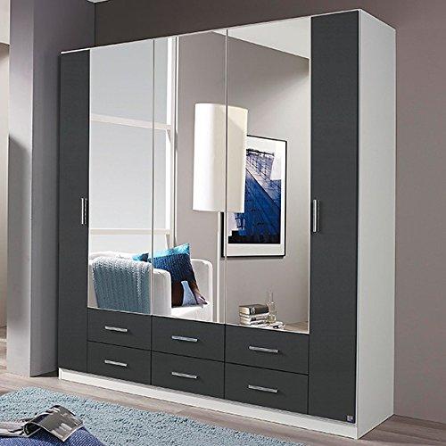 Kleiderschrank grau / weiß 5 Türen B 181 cm grau-metallic Schrank Drehtürenschrank Wäscheschrank Spiegelschrank Kinderzimmer Jugendzimmer günstig online kaufen