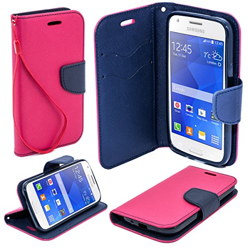 Moozy® color Fancy Diary Book Case Flip cover with stand / wrist strap / Silicone phone holder for Samsung G357FZ Galaxy Ace 4 Style LTE Pink / Blue (Galaxy Ace Style Silicone Case compare prices)