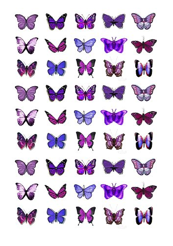 45X Purple Butterflies Edible Cake Toppers (Birthday Cupcake Topper By Eshack)
